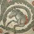 Mosaic fragment Roman Villa Romana del Casale, Sicily - Stock Photo