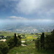 Panoramic landscape of a mountain valley with a aerial view. Sicily. Italy — Stock Photo