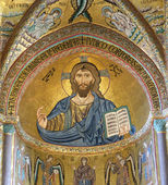 The Christ Pantokrator. Cathedral-Basilica of Cefalu,Sicily — Stock Photo