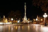 Night view of the La Rambla. Catalonia, Spain — 图库照片