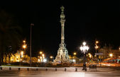 Chistopher Columbus monument at night. Barcelona — Stock Photo