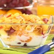 Fresh Fruits with Corn Flakes and Milk — Stock Photo #10329053