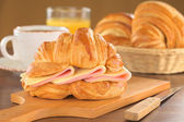 Croissant with Ham and Cheese — Stock Photo