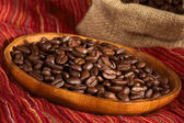 Coffee Beans on Wooden Plate — Stock Photo