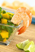Shrimps with Watercress Salad — Stock Photo