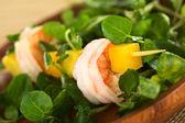 Shrimp with Watercress, Mango and Avocado — Stock Photo