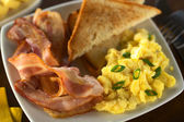 Bacon and Scrambled Egg with Toast Bread — Stock Photo