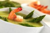 Cream of Asparagus with Shrimp — Stock Photo