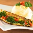 Stock Photo: Broccoli and Tomato Omelette