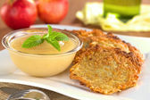 Apple Sauce and Potato Fritters — Stock Photo