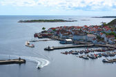 Motorboat Entering the Harbor of Risor, Norway — Stock Photo