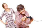 Video game teen and his angry girl — Stock Photo