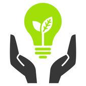 Green ecology bulb in open hands — Stock Vector