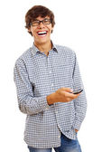 Joyful guy with cell phone — Stock Photo