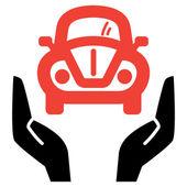 Red car in open hands — Stock Vector