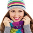 Beautiful girl in bright hat and scarf — Stock Photo #9153085