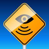 Radar road sign on blue — Stock Vector