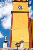 Yellow Clock Tower Mexico — Stock Photo