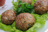 Meatballs with herbs — Stock Photo