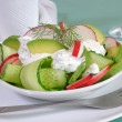 Stock Photo: Cucumber salad with radish and avocado cream sauce