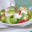 Cucumber salad with radish and avocado cream sauce - Stock Photo