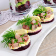 Stock Photo: Appetizer with herring