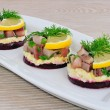 Appetizer with herring — Stock Photo