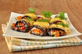 Eggplant rolls stuffed with cheese — Stock Photo