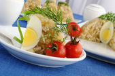 A piece of jellied chicken and egg — Stock Photo