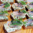 Snack rye bread and herring — Stock Photo