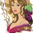 Royalty-Free Stock Vector Image: Girl with a bunch of grapes