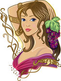 Girl with a bunch of grapes — Stock Vector