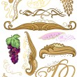 Decorated set for wine label — Imagen vectorial