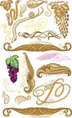 Decorated set for wine label — Stock Vector