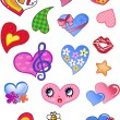 A set of comic hearts — Stock Vector
