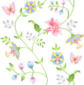 Decor seamless floral elements set — Vector de stock