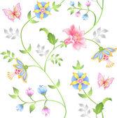 Conjunto de elementos florais sem costura decoração — Vetorial Stock