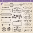Vector calligraphic decoration elements set - Stock Vector