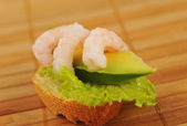 Sandwich with shrimps — Stock Photo