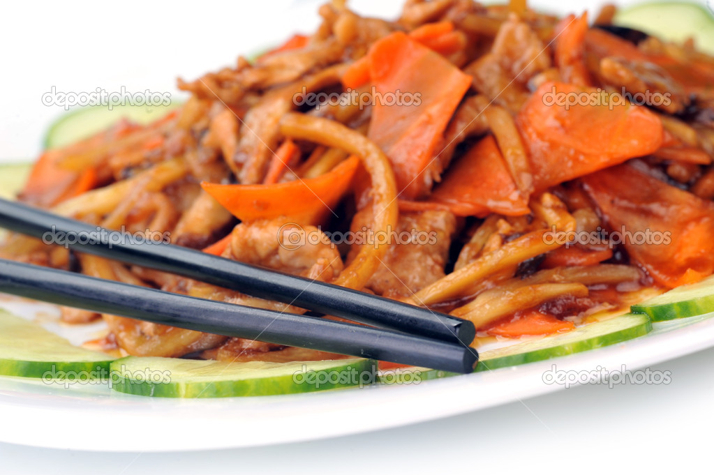 Steamed vegetables with meat. Chinese cuisine — Stock Photo #8317047