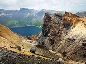 Volcanic rocky mountains, wild landscape, national park Changbai — Stock Photo