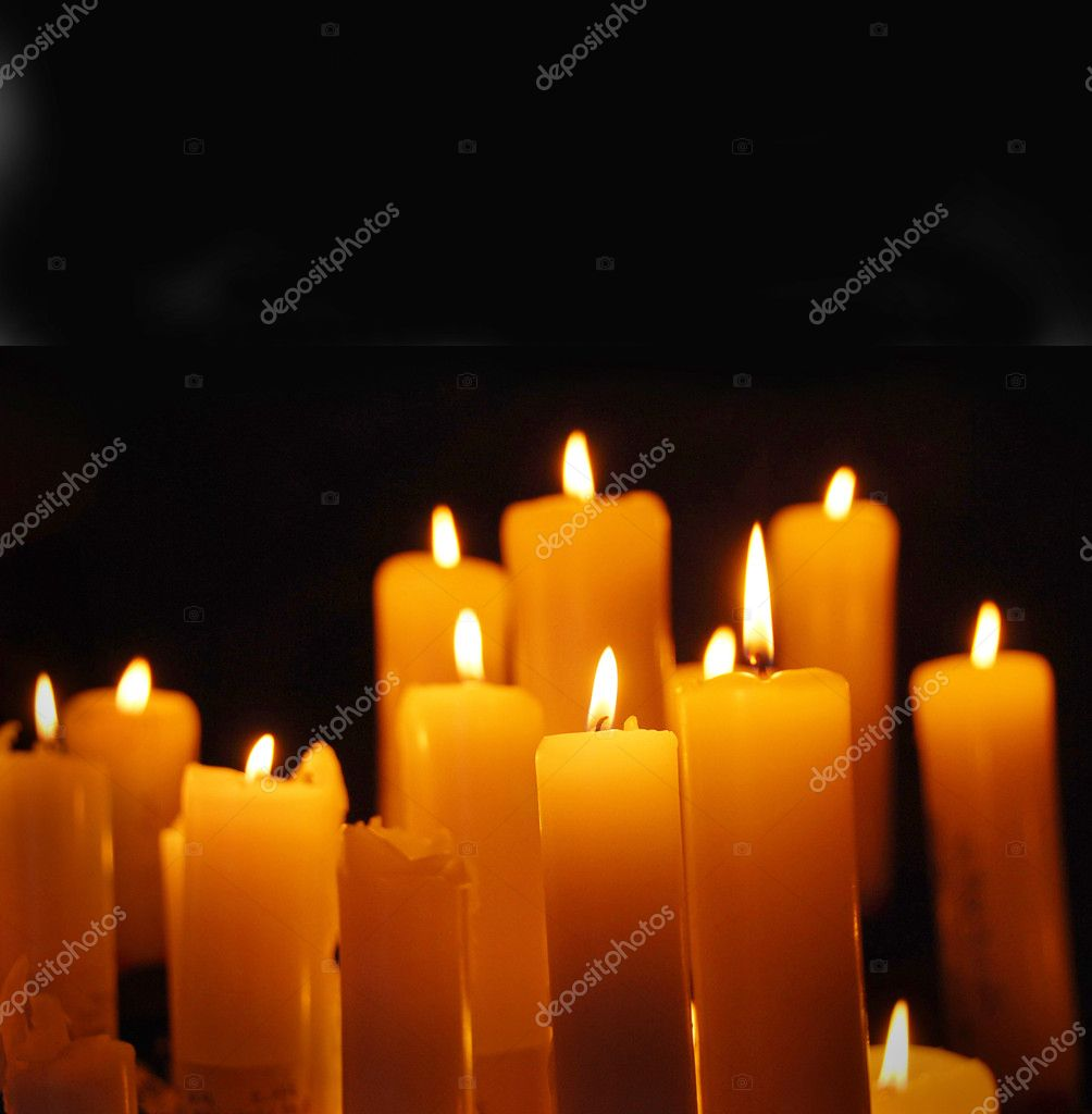 Alight candles, card for Christmas  Stock Photo #8132064