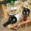 Picnic basket with wine — 图库照片