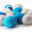 Blue and silver Easter eggs - Stock Photo
