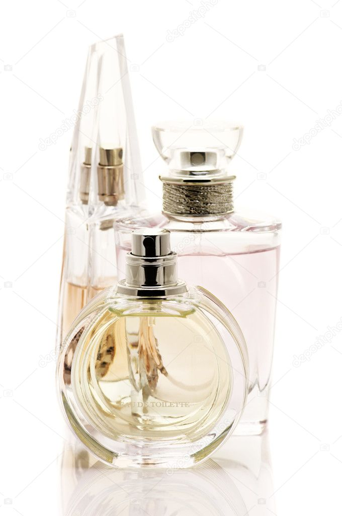 Three various female perfumes isolated on white background. — Stock Photo #9118198