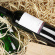 Wine bottles in straw — Foto Stock