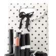 Stock Photo: Cosmetic set and bag
