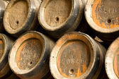 Row of wooden beer barrels — Stock Photo