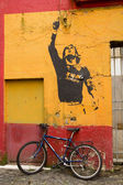 Graffiti in honor Lionel Messi, by Banksy — Stock Photo
