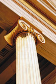 Detail of a colorful ionic order capital from Achillion palace at Corfu island, Greece — Stock Photo